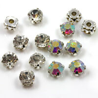*AAA* SILVER SEW ON CLEAR OR AB CRYSTAL GLASS RHINESTONES *6 SIZES DIAMANTE GEMS