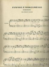 Spartito Musicale Fanfara e Marcia Reale d'Ordinaza di G. Gabetti Gustavo Gori