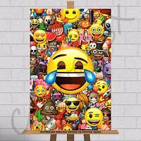 "Emoji Movie Emojis Framed Canvas Print Picture Poster 30""x20"" A1 Kids Wall Art"