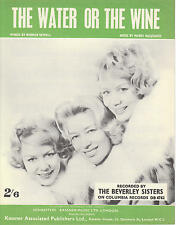 The Water Or The Wine - The Beverley Sisters - 1961 Sheet Music