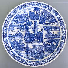 FLORIDA (Artist: Klinker) Blue Collector's Plate*Vintage Vernon Kilns Pottery