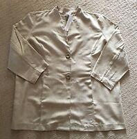 NWT Women's Gillian Grey Natural Khaki Beige 3/4 Sleeve Linen Blend Blazer-Sz 3X