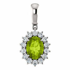 Peridoto & 1 / 3ctw Diamante 45.7cm Collar en 14k ORO BLANCO