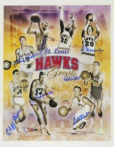 St. Louis Hawks Greats Basketball AUTOGRAPHED Poster w/ HOFer Bob Pettit