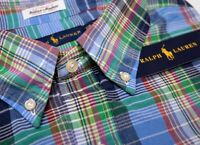 NWT $89 Polo Ralph Lauren SS Shirt Blue Green Red Plaid Mens Indian Madras NEW