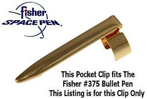 Fisher Space Pen / .375 H&H Bullet Brass Finish Pocket Clip