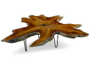 Couchtisch Holz massiv bis 120 cm Baumscheibe Wohnzimmer Tisch Holztisch Wurzel