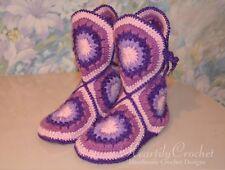 Women crochet boots, handmade house shoes, knitted wool socks, crochet slippers