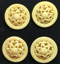 Antique French Ivory Celluloid Dome Button Pierced Tops - Set of 4 Small