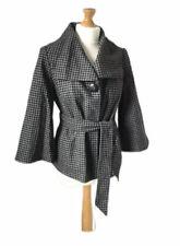 Topshop Black Grey Houndstooth Wool Blend Statement Jacket Coat 12 Belted Spring