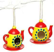 Teapot Ceramic Bird Feeders for Children's Arts Crafts 11cm