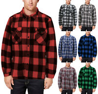 Men's Fleece Flannel Button Up Warm Sherpa Lined Lightweight Casual Jacket
