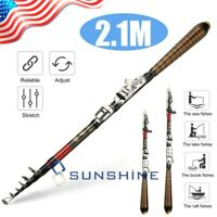 Professional 7 feet Carbon Fiber Telescope Fishing Rod Travel Sea Spinning Pole