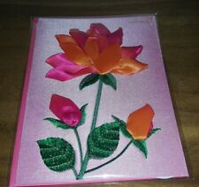 PAPYRUS MOTHER'S DAY CARD EMBROIDERED RIBBON FLOWER ROSE NEW $12.95 retail 2019