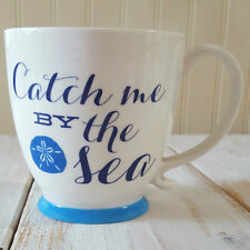 New CATCH ME BY THE SEA Coffee Mug Tea Cup BLUE Beach Coastal Living Seashell