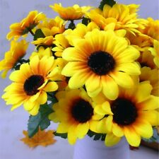 7 Heads Artificial Fake Sunflower Silk Flowers Floral Wedding Bouquet Home Decor