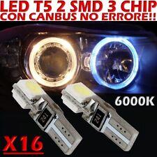 16 LED T5 SMD BIANCO 6000K CANBUS per Fari ANGEL EYES DEPO FK WHITE no error