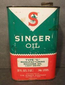 "Vintage 1960's Singer Oil Sewing Machine Oil Quart Can Type ""C"" Light Grade"