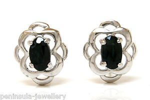 9ct White Gold Sapphire Studs Celtic Earrings Gift Boxed Made in UK