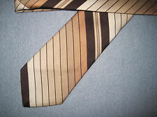 Brown Beige Striped Tie Necktie Leonardo ~ FREE US SHIP (10003)