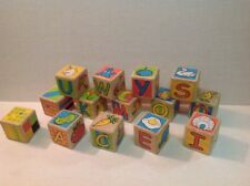 WOODEN ALPHABET BLOCKS Building Toys With Painted ABC's 123's And Pictures.