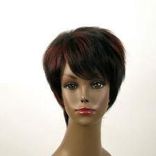 perruque femme afro 100% cheveux naturel courte méchée noir/rouge JEAN 03/1b410