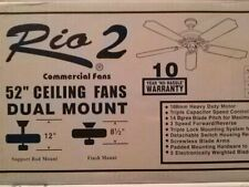 "Rio 2 Dual Mount 52"" Ceiling Fan White Finish Reversible Blades Washed Oak/White"