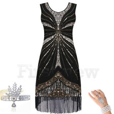 Vintage 1920s Dress Flapper Great Gatsby Charleston Sequins Fringe Party Dresses