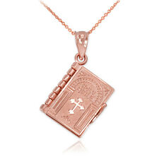 10k Oro Rosa Libro De La Santa Biblia con El Padre Nuestro Colgante Collar