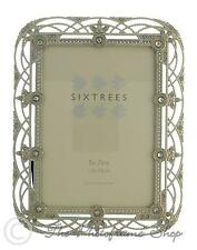Details About Sixtrees Alice Vintage Shabby Chic Silver Photo Frame With Beads & Crystals 7x5