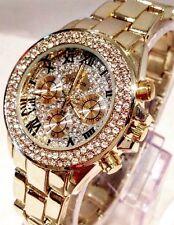 Ladies Watch Gold Classic Luxury Diamanté Metal Strap Designer Smart Elegant New