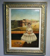 Agapito Labios Oil On Canvas of a Young Girl Holding Doll W/Street Figures