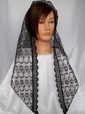 BLACK / GOLD LACE VEIL MANTILLA SCARF HEADCOVER MASS LATIN CHURCH CATHOLIC 154