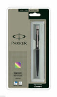 GENUINE PARKER CLASSIC MATTE BLACK CT SILVER TRIM BALL POINT PEN - FINE BLUE