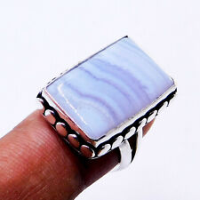 Blue Lace Agate 925 Sterling Silver Plated Handmade Jewelry Ring Us Size 7.25''