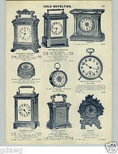 1905 PAPER AD Waterbury Porcelain Paper Weight Clock Conductor Tattoo Alarm