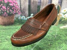 LL BEAN Brown Leather Slip On Flats Shoes Size 7 B