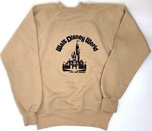 Vintage 70s Walt Disney World Raglan Sweatshirt Youth XL Tan Brown Felt Letters