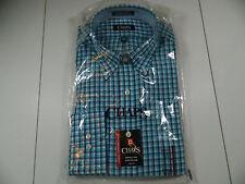 Chaps Performance Series Aqua Check Shirt Classic Fit Lg Slv 16 16 1/2 36/37 New
