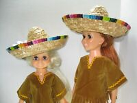 Lot 5 costumes Ideal Crissy doll clothes Sombrero + fringed leather type NO DOLL
