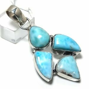 "Republic Larimar Gemstone Handmade 925 Silver Jewelry Pendant 2.17"" M1430"