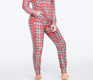 Victoria Secret PINK Sleep Pants Womens Large New Cozy Joggers White Red Plaid