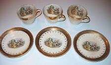 TAYLOR SMITH & TAYLOR Eastern China USA Cups/Saucers 6 pc. 22K Gold Vintage