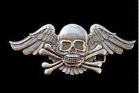 Human Skull Wing Roses Flower  Crossbones Metal Belt Buckle Boucle de Ceinture