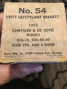 1953 Chrysler Desoto Utility Safetylight Bracket No 54, New In Box With Inst