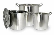 6pc Stainless Steel Stockpot Pot Set 6 - 8 - 12 QT Quart Beer Brewing Soup Chili