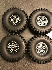KYX Billet Aluminum BeadLock Split 3 Piece 1.9 Wheels Cap Tires Axial SCX10 4X4