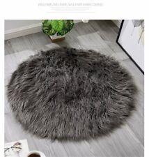 Fluffy Decor Faux Wool Fur Soft Sheepskin Rug Round Floor Circular Carpet Mat