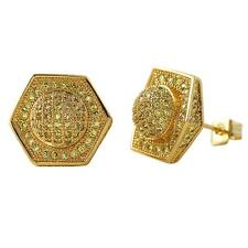 Bling Bling Earrings IcedOut Ear Jewelry Hip Hop Domed Hexagon Gold Canary Cz