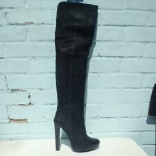AllSaints Leather Boots UK 5  38 Womens Platform Pull on Thigh High Black Boots